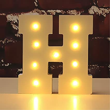ccb3edf6cb2 Light Up Wooden Alphabet Letter A to Z Carnival Decorative DIY LED Letter  Lights Sign Party Wedding Holiday Marquee Decor Battery Operated (Letter H)   ...