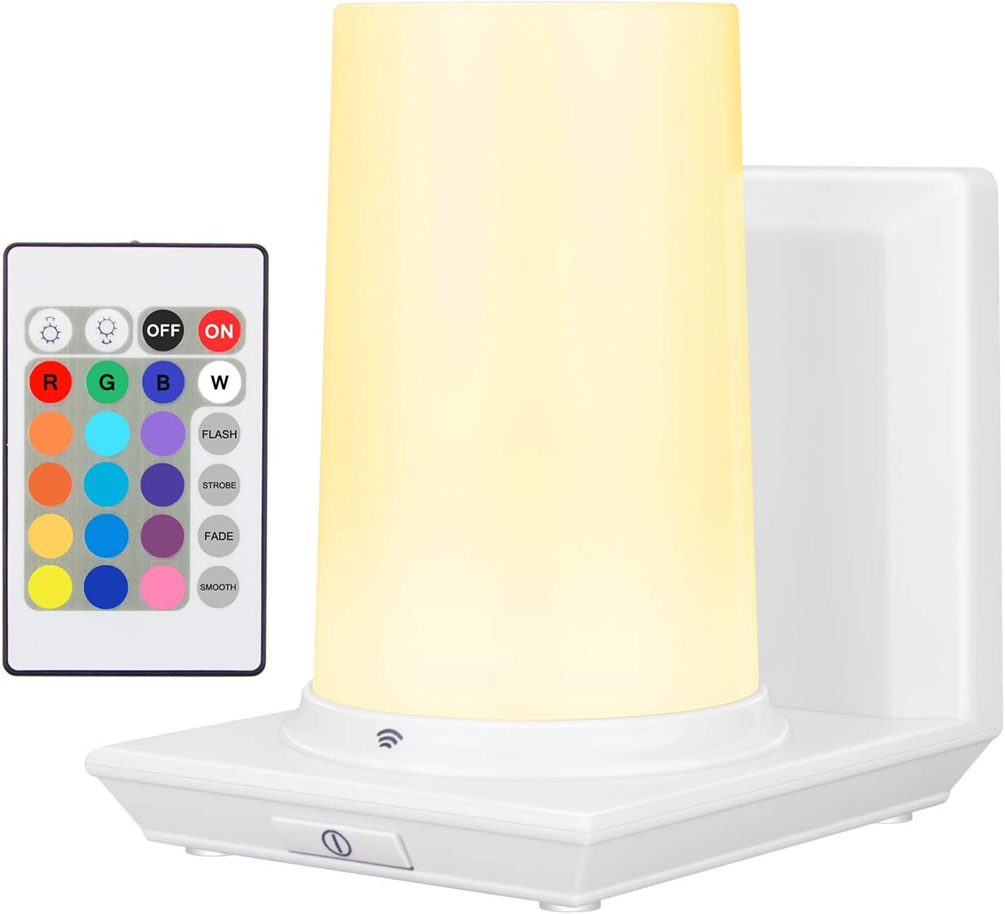 HONWELL Wall Lamp Wireless Battery Operated Wall Sconce for Bedroom Multi Color LED Wall Light for Room Decor Mood Lighting, Stick on RGB Lights for Bedroom, 16 Colors, Remote Controlled