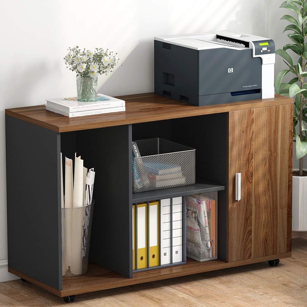 File Cabinet, LITTLE TREE 39'' Large Storage Printer Stand, Mobile Filing Office Cabinet with Wheels, Door and Open Shelves for Home Office, Dark Walnut