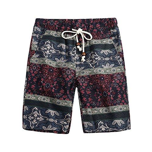 Onin 2018 Spring Summer Men's Beach Flower Shorts Hawaiian Casual Loose Pants,5135,5XL