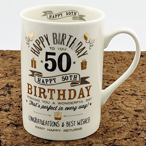 Taza para 50th con texto en inglés y taza (cm 24550)