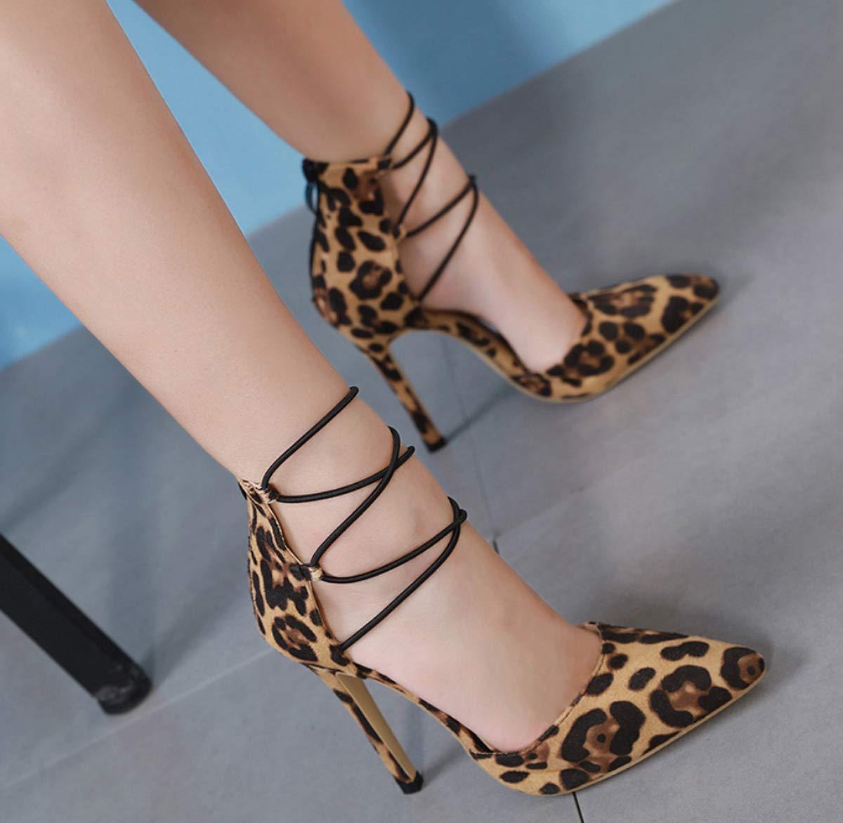 DANDANJIE Frauen High Heel Gericht Gericht Gericht Schuhe Spitz Leopardenmuster Pfennigabsatz Reißverschluss Schuhe Büro Hochzeit d5509a