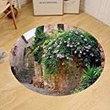 Gzhihine Custom round floor mat Landscape Summer Garden Flowers Marigold Stones Antique Ancient House in Spain Art Print Bedroom Living Room Dorm Multicolor