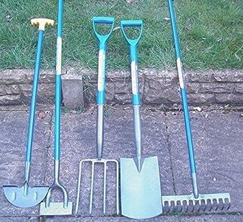 Set Of 5 Gardening Tools, Shovel, Fork, Rake, Hoe, Edging Spade