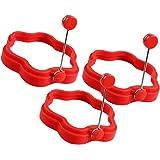 COM-FOUR® 3er Set Silikon Bratform für Spiegelei oder Pfannkuchen (3 Stück - Blume - Rot)