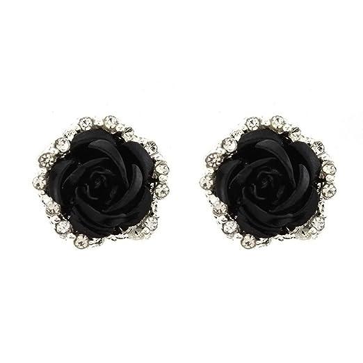 24dc191f4 Women Girls Elegant Cute Rose Flower Stud Earrings Ladies Delicate  Rhinestone Ear Studs Valentine's Day Gift