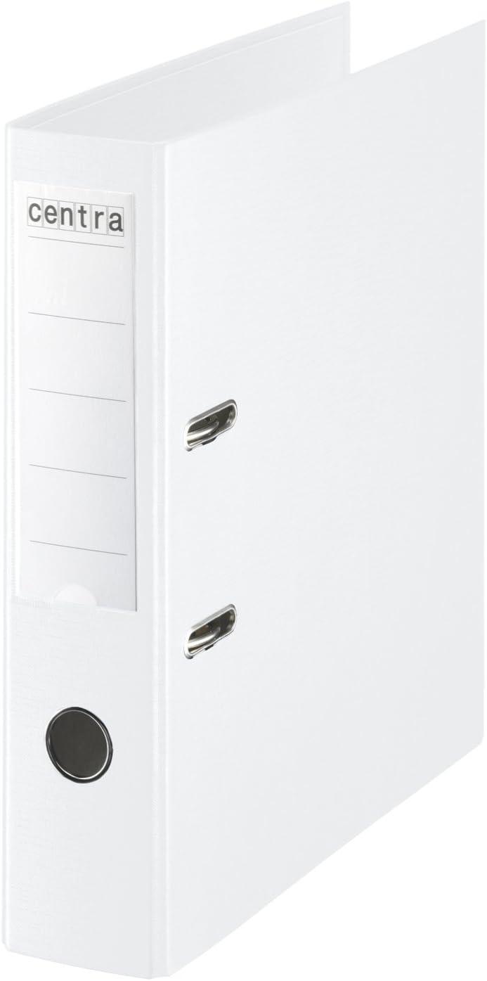 Centra - Archivadores de palanca con anillas, plástico, lomo de 75 mm, tamaño A4, 10 unidades, color blanco