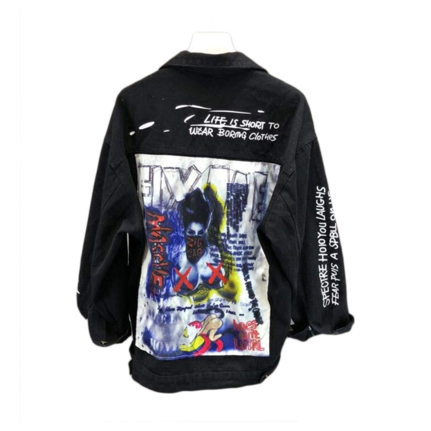 Black Womens Denim Jacket Fashion Graffiti Patch Designs Loose Punk Jean Coat