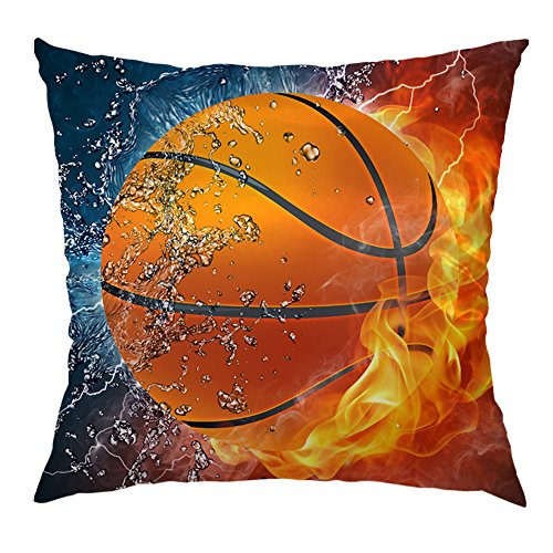 (Moslion Basketball Pillow Decorative Throw Pillow Cover Flame Basketball Sweat Satin Square Cushion Cover Pillow Cases for Men Women Boys Girls Home Sofa Bedroom Livingroom 18
