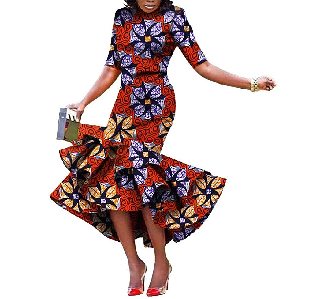 15 Cobama Womens Fishtail Floral African Print Bodycon Long Short Sleeve Dress