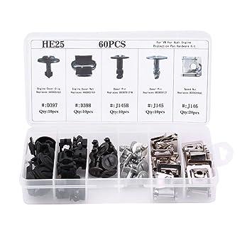 Elerose Sujetadores de Clip de Escudo Inferior del Motor 60PCS (5 tipos): Amazon.es: Coche y moto