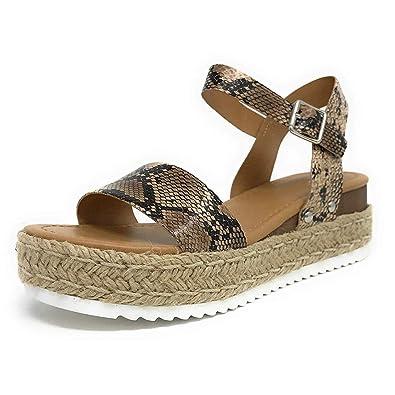 13778bbc50ea OverDose Sandales Sandales Compensées Femme Été Bout Ouvert Espadrilles,  Bride Cheville Boucle Casual Chaussures