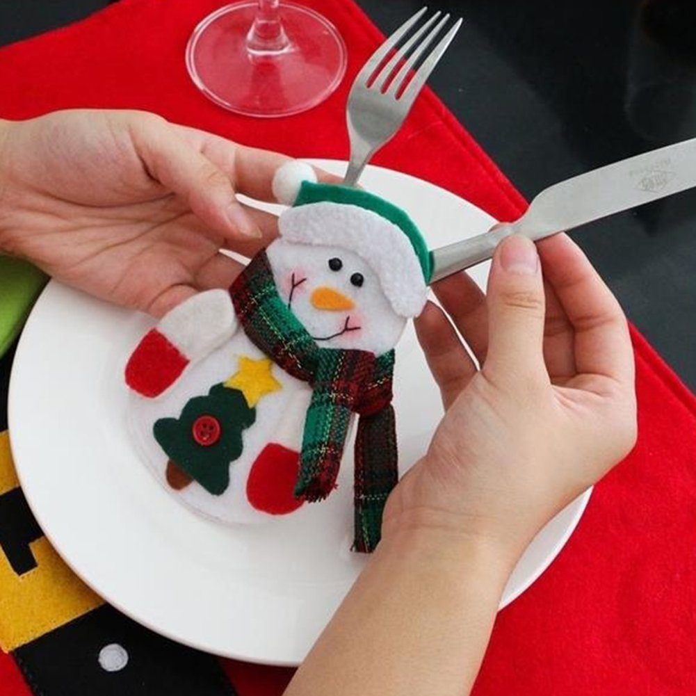 CHoppyWAVE Cutlery Pouch, Santa Claus Pattern Cutlery Holder Utensil Bag Fork Knife Pocket Xmas Decoration - A6-2-1 Tree Santa Claus by CHoppyWAVE (Image #7)