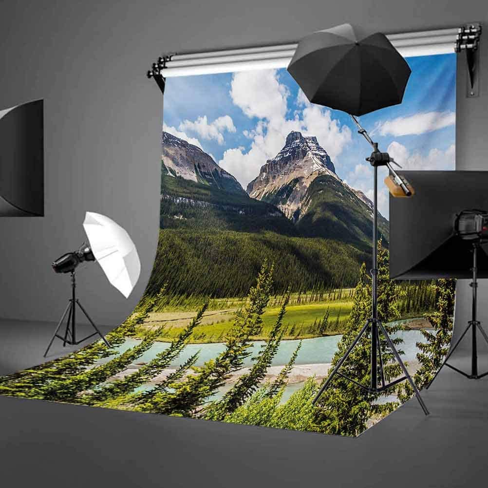 Landscape 10x15 FT Photography Backdrop Canadian Nature Cliffs High Tops and Ranges in Spring Day Panorama Image Print Background for Party Home Decor Outdoorsy Theme Vinyl Shoot Props Green Blue
