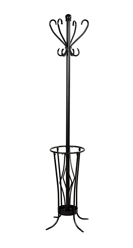 Leisure Space Coat Rack With Umbrella Stand Black