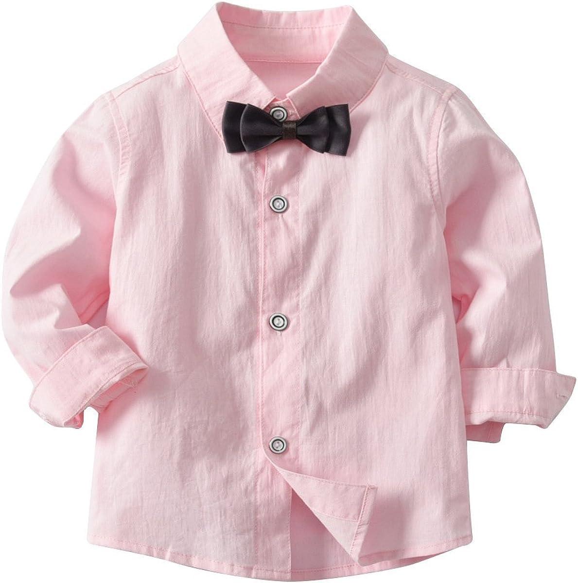 Waistcoat Kid Boy Formal Suit Long Sleeve Shirt with Bow Tie Long Pants 3Pcs