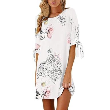 e1a2f85c631bf Tefamore Femmes d été Manches Demi Bow Bandage Floral Straight Casual Mini  Robe Courte(