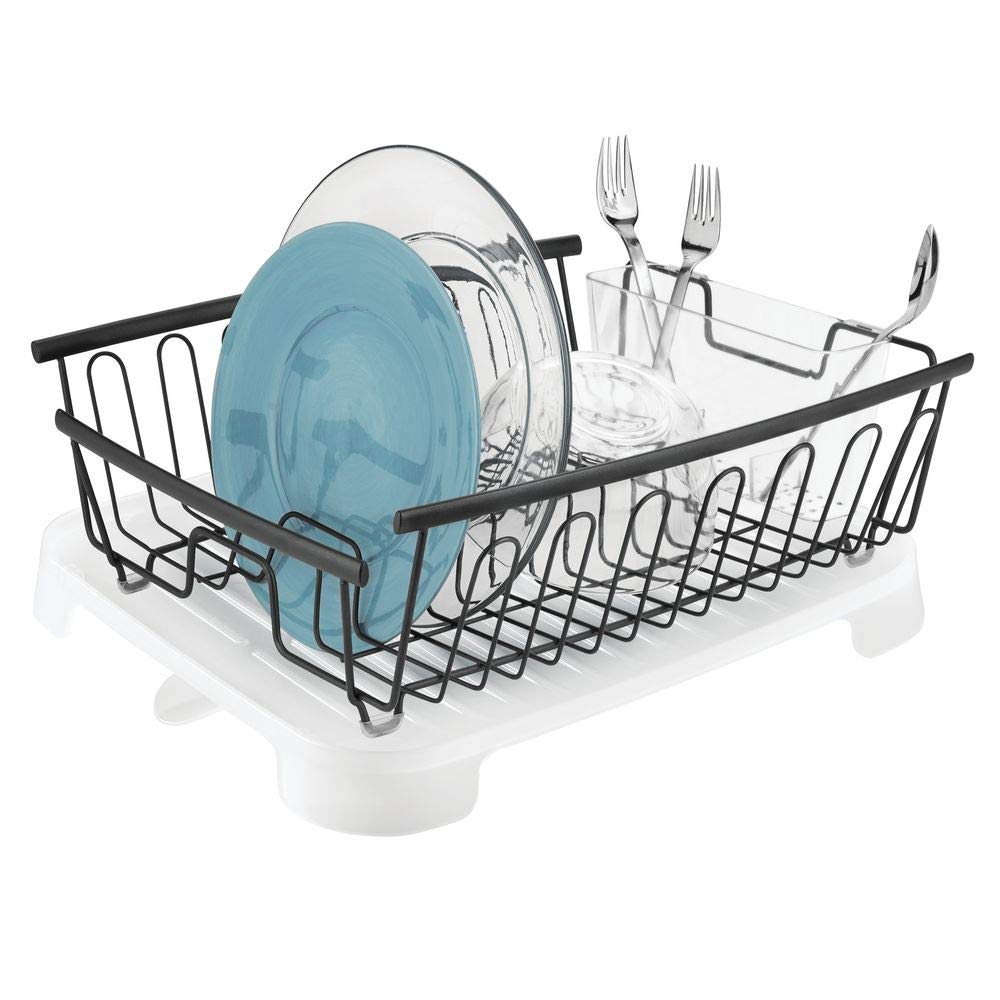 Sink Dish Drying Rack with Removable Cutlery Tray and Drainboard with Swivel Spout Bronze Wire Drainer//Clear Frost Cutlery Caddy /& Drainboard Set of 2 mDesign Large Kitchen Countertop