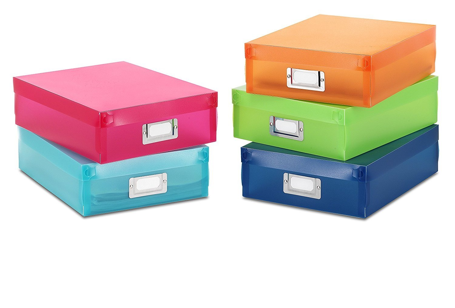 Set of 5 Durable Plastic Document Boxes With Metal Id Plate | Assorted Colors | By Trenton Gifts