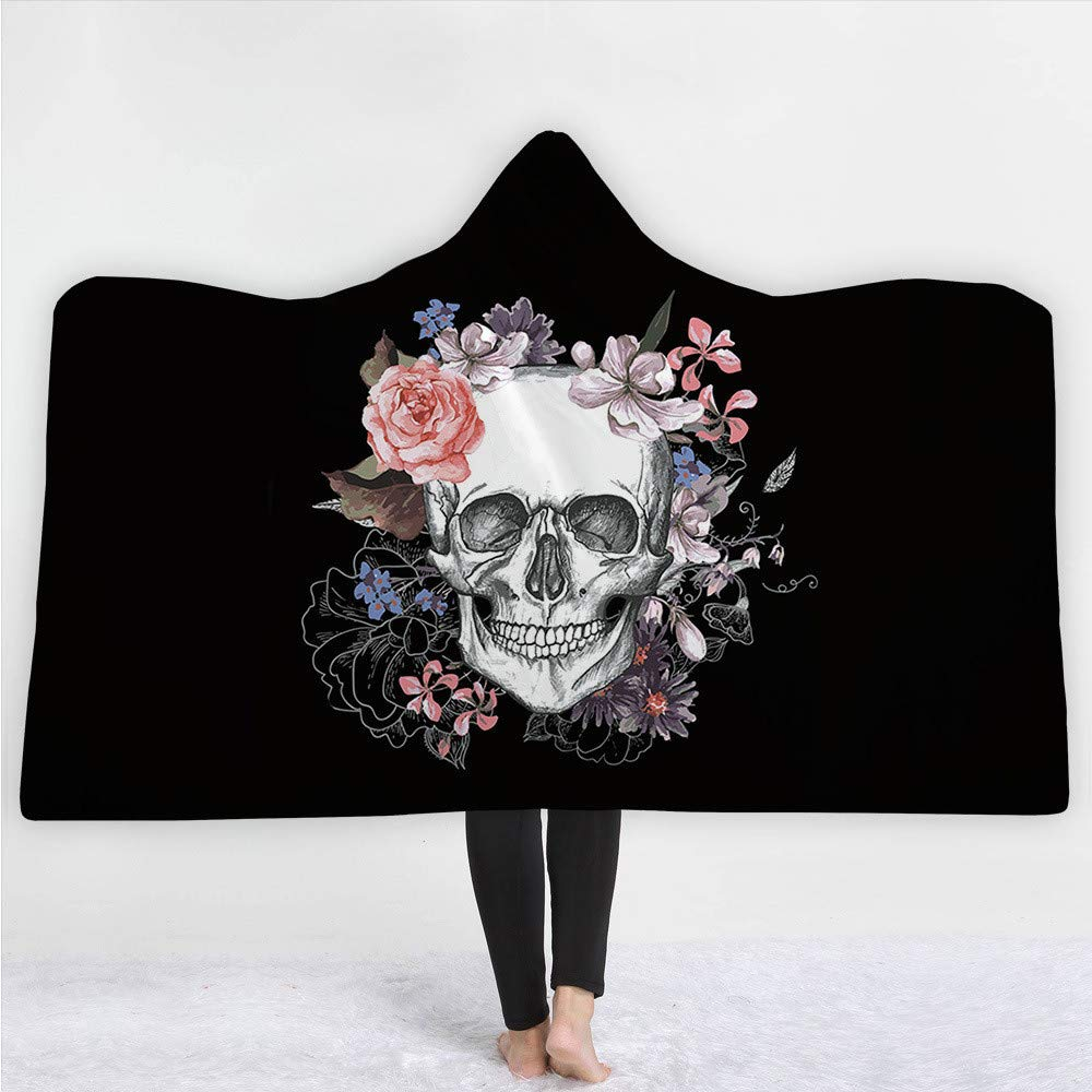iBlan Couvertures de Jet Le canapé Le lit,Impression numérique 3D Tendance ModeNoir Squelette Humain àCapuchon Couverture Manteau 200 * 150 cm