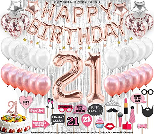 21st Birthday Decorations with Photo Props | 21 Birthday Party Supplies | 21 Cake Topper Rose Gold Banner | Rose Gold Confetti Balloons for her |Finally Legal 21 |Silver Curtain Photo Booth Backdrop ()