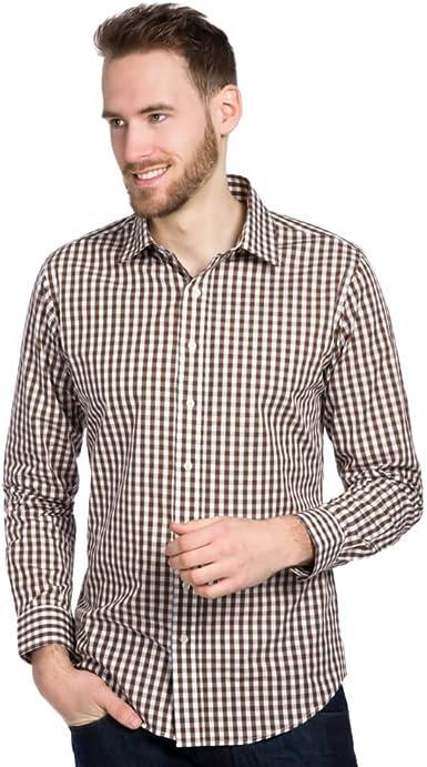 ALLBOW Hombre Camisas a Cuadros Marron Blanco, Manga Larga, Slim Fit, Business Casual, XL: Amazon.es: Ropa y accesorios