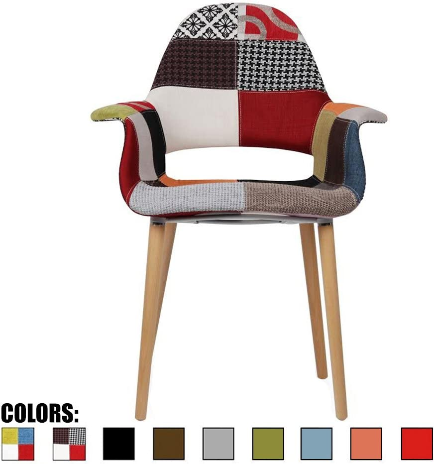 2xhome CH Sam Organic Upholstered Mid Century Modern Dining Arm Chair with Natural Wood Legs Patchwork S Fabric