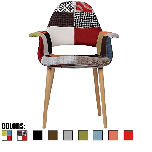 2xhome Organic Upholstered Mid Century Modern Dining Arm Chair with Natural Wood Legs, Patchwork S,1 Piece
