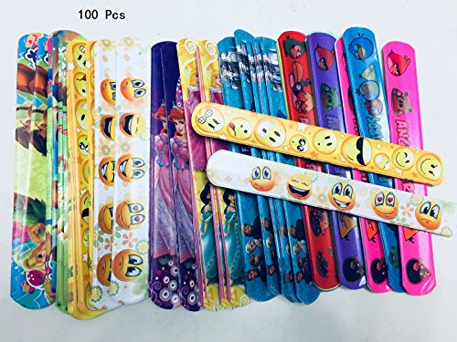 king's deal 100 Assorted Slap Bracelets- Mega Pack,smiling Face,pleasant Goat,snow White, Birds, A variety of cartoon patterns of random delivery]()