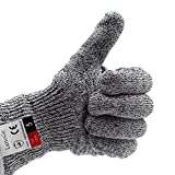 LattoGe Update Cut Resistant Gloves - With Hang Rope, Food Grade, Level 5 Protection, Kitchen Hand Safety Gloves (Medium)