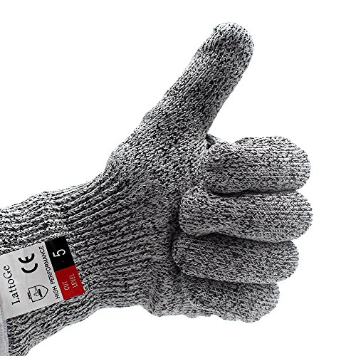 LattoGe EN388 Certified Cut Resistant Gloves - With Hang Rope, Food Grade, Level 5 Protection Safety Gloves for Kitchen Hand Protection and yard-work Cutting and slicing(Medium)