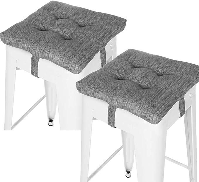 Baibu Set Of 2 Square Seat Cushion Super Soft Bar Stool Square Seat Cushion With Ties Cushion Only Gray 12 30cm 2pc Kitchen Dining