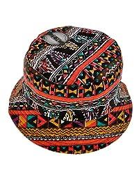 ZLYC Unisex Vintage Tribal Geometric Print Canvas Short Brim Bucket Hat Fishmen Cap, Red