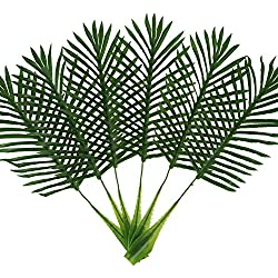 EHAND Artificial Palm Tree Faux Leaves Green Plants Greenery for Flowers Arrangement Wedding Decoration 6PCS 22Inch