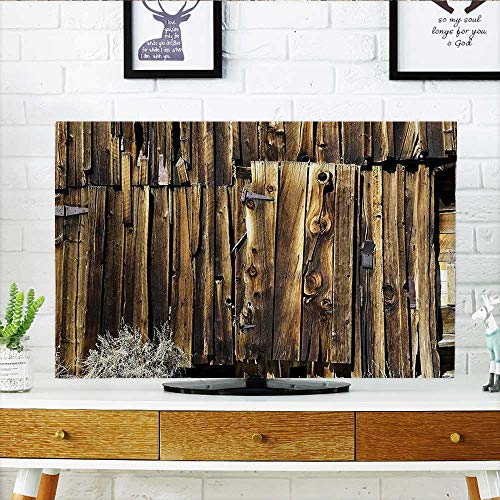 - Leighhome tv dust Cover Rustic Oak Barn Siding Door Cracked Rusted Hinges Dated Timber Mansion Land Dust Resistant Television Protector W35 x H55 INCH/TV 60
