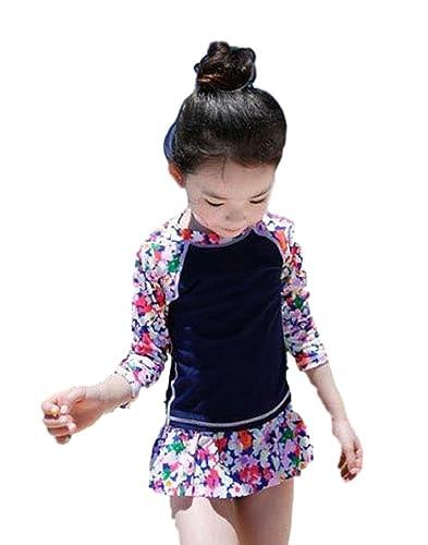 (カエナリエ)Kaenarie子供セパレート水着花柄ネイビーフリルUVキャップ付き(2.M(100~110))