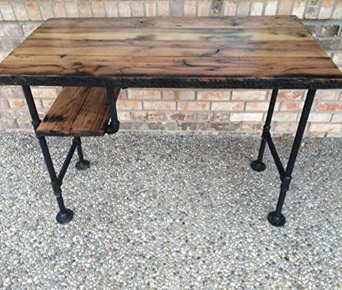 Reclaimed wood desk table rustic solid oak w for Rustic iron table legs