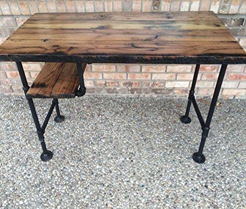 "Reclaimed Wood Desk Table - Rustic Solid Oak W/ 28"" Black Ir"