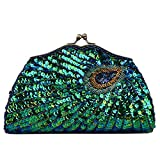 2017 Fashion Women Full Shining Sequins Handbag Beaded Peacock Embroidery Clutch Rhinestone Purse Evening Bag