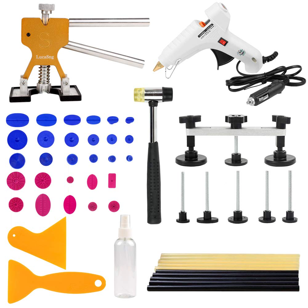 LucaSng 51 Pcs Car Body Painless Dent Puller Removal Repair DIY Tools Kits with Car Hot Gun/Glue Sticks/Dent Lifter/Bridge/Suction Tab/Dent hammer-Gold