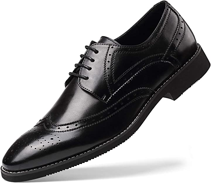 Men/'s Wingtip Smart Dress Formal Office Shoes Faux Leather Brogue Oxfords Casual