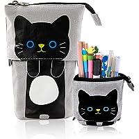 iSuperb Transformer Stand Store Pencil Holder Canvas+PU Cartoon Cute Cat Telescopic Pencil Pouch Bag Stationery Pen Case…