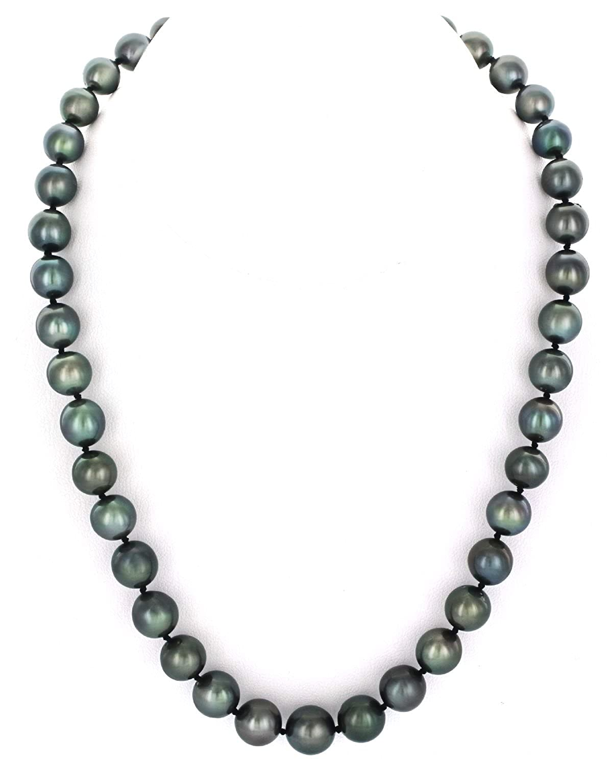THE PEARL SOURCE 14K Gold 9-11mm Round Genuine Black Tahitian South Sea Cultured Pearl Necklace in 18 Princess Length for Women