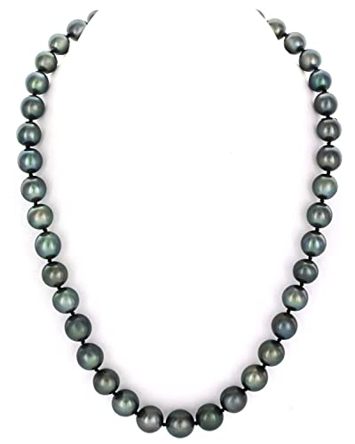 """14K Gold 9-11mm Tahitian South Sea Round Cultured Pearl Necklace - 18"""" Princess Length"""