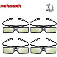 4 Pairs- Pergear 144Hz 3D DLP-Link Active Shutter Glasses for DLP-Link Projector Like Optoma/BenQ/Acer/ LG