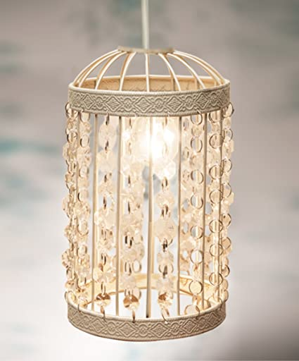Vintage style beaded bird cage pendant lamp shade lantern shabby vintage style beaded bird cage pendant lamp shade lantern shabby chic mozeypictures Image collections