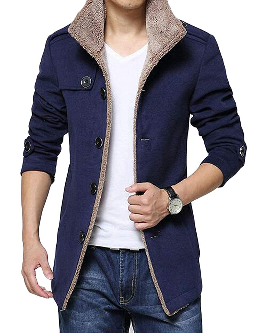 XTX Men Fleece Lined Winter Single Breasted Slim Fit Pea Coat Trench Jacket Outerwear