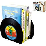 Ourlove Fashion 2x Retro CD Record Vinyl Bookends Vintage Book Ends Stand Home Office Supplies Art Gift (Black)