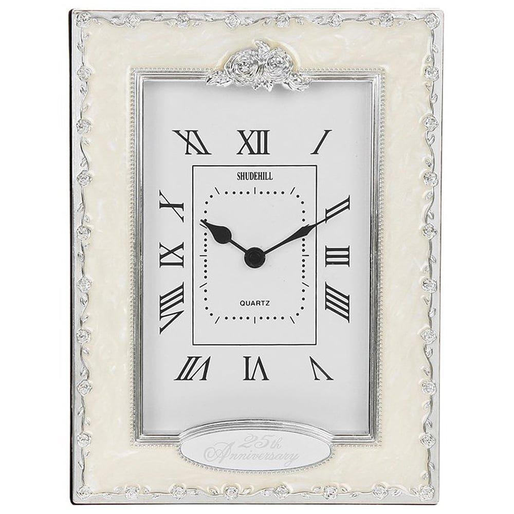 Clocks - 25th Anniversary Silver Wedding Celebration Quartz Table Clock Shudehill Giftware 47854553