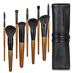 Professional Makeup Brush Set with Case Vegan Cruelty Free Soft Synthetic Bristles for Foundation Blending Face Powder Blush Contour Eyeshadow, Travel Leather Clutch